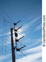 televisión, tejado, aéreo, antena