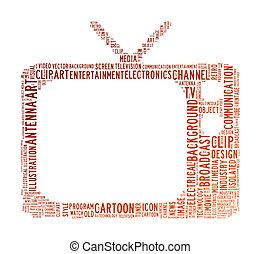 televisión, texto, nube