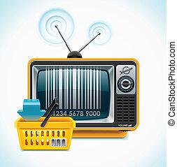 televisión, tienda, xxl, vector, icono