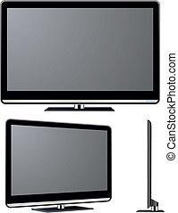 televisión, vector, conjunto