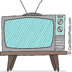 televisión, vendimia, conjunto, funcionamiento defectuoso