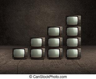 televisión, viejo, pila