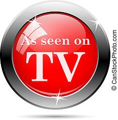 televisión, vistos, icono