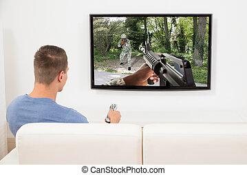 televisie, computer spel, man, spelend