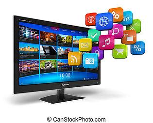 televisie, concept, internet