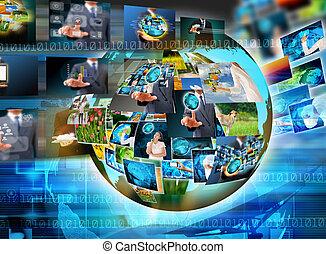 televisie, en, internet, fabriekshal, .technology, en, zakelijk, conc