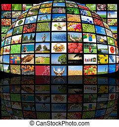 televisie, fabriekshal, technologie, concept