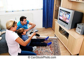 televisie, gezin, schouwend