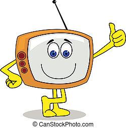 televisie, karakter, spotprent