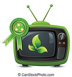 televisie, met, hergebruiken, badge
