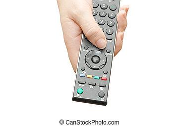 televisie, paneel, in, een, vrouwelijke hand