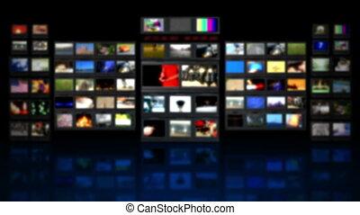 televisie, -, reflectie, hd, studio.