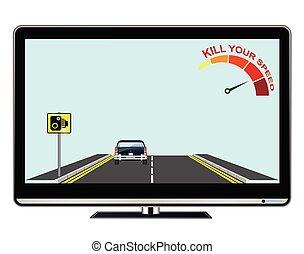 televisie, snelheid, jouw, doden, advertentie