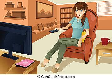 televisie, vrouw, schouwend