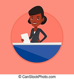 Television anchorwoman at studio. - African anchorwoman at...