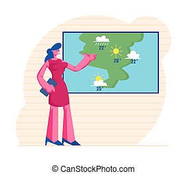 Television Anchorwoman at Studio Forecast Weather During ...