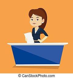 Television anchorwoman at studio. - Television anchorwoman...