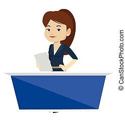 Television anchorwoman at studio. - TV anchorwoman working...