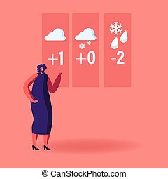 Television Anchorwoman Character at Studio Forecast Weather ...
