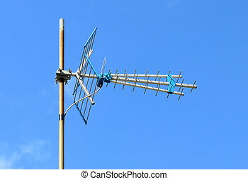 Television antenna with blue sky