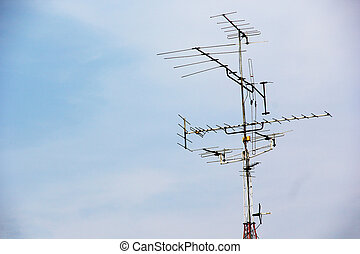 Television antenna with blue sky - OLd Television antenna...