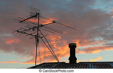 television, antenne, Himmel