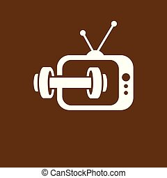 Television barbell fitness logo icon vector template