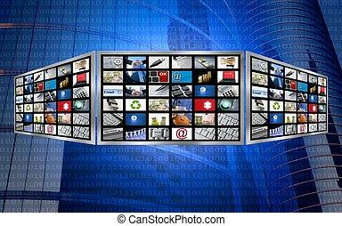 television, begrepp, avskärma, multimedia, global, tech, 3
