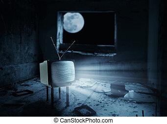 television färdig, rum, tom