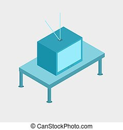 Television flat design illustration isometric 3D