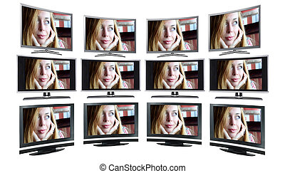 television, fremviser, /, kontrolapparater