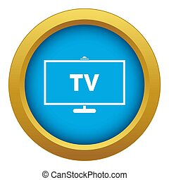 Television icon blue isolated