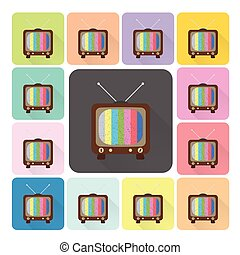 Television Icon color set vector illustration