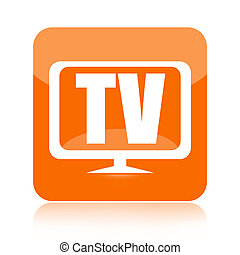 Television icon isolated on white background