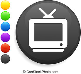 television icon on round internet button