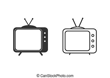 Television Icon Set Vector Illustration Template
