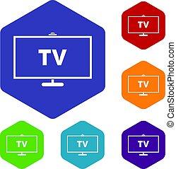 Television icons set hexagon
