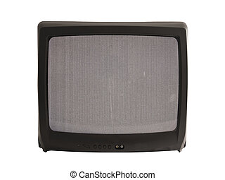 A close up on a television screen switched to a channel with poor reception isolated on a white background.