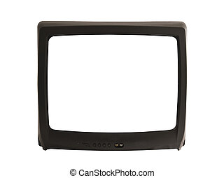 A close up on a television with a blank screen isolated on a white background.