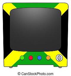 Television Jamaica - Retro Television with Jamaica flag...