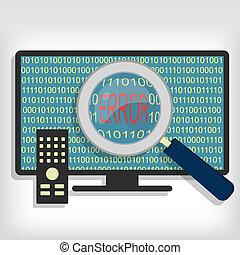 television, kode, raffineret, fejl