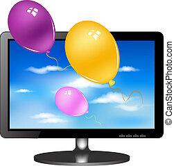 television, lsd., balloner, dataskærm