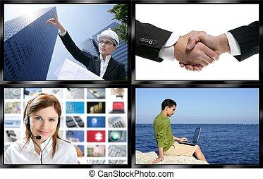 television, mångfald, vägg, avskärma, svart, ram