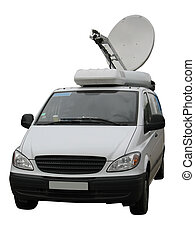 television news reporter truck with satellite dish isolated...