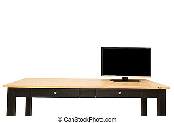 Television put on wood table isolated white