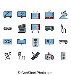 Television related icon set. Vector illustration