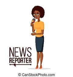 Television Reporter Vector. Reporter Girl. TV Transmission...