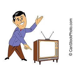 television salesman - salesman showing television with pride