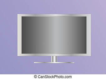 siverl flat screen television on light background
