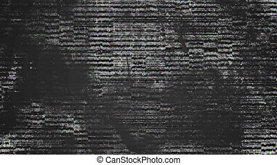 Animation of flashing lines of static and visual interference moving on a screen in black and white and colour. Visual transmission interference concept digitally generated image